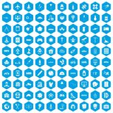 100 development icons set blue. 100 development icons set in blue hexagon isolated vector illustration Royalty Free Stock Images