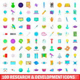 100 development icons set, cartoon style. 100 research and development icons set in cartoon style for any design vector illustration Stock Photos