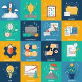 Development Icons Set. Development square icons set of idea strategy research plan investment startup project success flat elements vector illustration Royalty Free Stock Photo