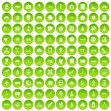 100 development icons set green circle. Isolated on white background vector illustration Royalty Free Stock Images