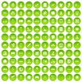 100 development icons set green. 100 development icons set in green circle isolated on white vectr illustration Stock Photos