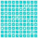 100 development icons set grunge blue Stock Images