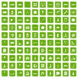100 development icons set grunge green. 100 development icons set in grunge style green color isolated on white background vector illustration Stock Images