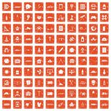 100 development icons set grunge orange. 100 development icons set in grunge style orange color isolated on white background vector illustration Royalty Free Stock Images