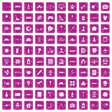 100 development icons set grunge pink. 100 development icons set in grunge style pink color isolated on white background vector illustration Royalty Free Stock Photography