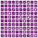 100 development icons set grunge purple Royalty Free Stock Images