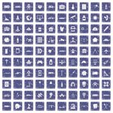 100 development icons set grunge sapphire Royalty Free Stock Image