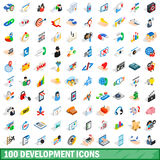 100 development icons set, isometric 3d style Stock Image