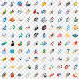 100 development icons set, isometric 3d style. 100 development icons set in isometric 3d style for any design vector illustration Royalty Free Stock Photos