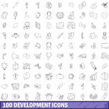 100 development icons set, outline style Royalty Free Stock Images