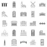 Development icons set, outline style. Development icons set. Outline set of 25 development vector icons for web isolated on white background Royalty Free Stock Images