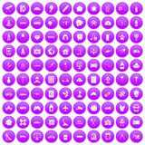 100 development icons set purple. 100 development icons set in purple circle isolated on white vector illustration Royalty Free Stock Photos