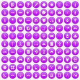 100 development icons set purple. 100 development icons set in purple circle isolated on white vector illustration vector illustration