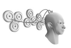 Development of ideas. Surreal concept of a human head in creating ideas with gears Stock Photography
