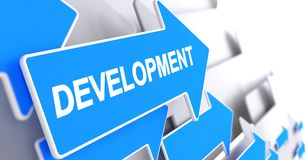 Development - Inscription on Blue Pointer. 3D. Development, Text on Blue Cursor. Development - Blue Cursor with a Text Indicates the Direction of Movement. 3D Stock Image