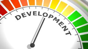 Development level meter. Economy and financial concept