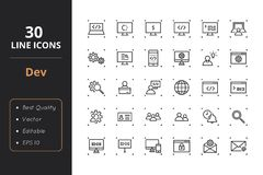 30 Development Line Icons. High quality development line icons. Icons for user interfaces and web Stock Photos