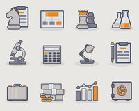 Development line icons. Set of thin line icons with grey and golden color Stock Image