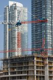 Development, New Constraction. New construction against brand new buildings. Concept for development stock photography