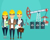The development of oil fields. Construction of an oil well. A young team of engineers. Happy people Royalty Free Stock Photos