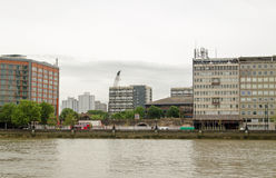 Development opportunity, London. LONDON, UK - JULY 6, 2014:  View across the River Thames towards Vauxhall and the space left by a recently demolished office Royalty Free Stock Images