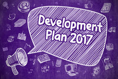 Development Plan 2017 - Business Concept. Shouting Megaphone with Text Development Plan 2017 on Speech Bubble. Doodle Illustration. Business Concept Stock Photo