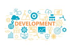 Development poster with flat icons set Royalty Free Stock Image