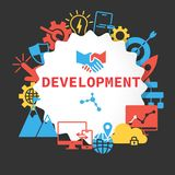 Development poster with icons set stock illustration
