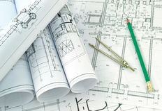 Development of project drawings Royalty Free Stock Images