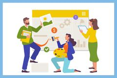 Development team concept for web page. Business team working concept.Flat vector illstration royalty free illustration