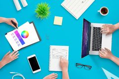 Development team work on user interface web project royalty free stock image
