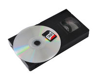 The development of technology: vhs cassette cd sd royalty free stock image