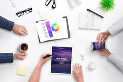 Development theme for content managment system concept stock photo