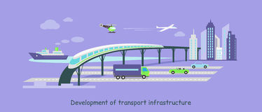 Development of Transport Infrastructure Icon Flat Royalty Free Stock Photo