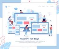 Responsive design landing page. Development of web design for different devices. Landing page template. Responsive design. Flat vector illustration vector illustration