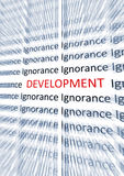 Development word. Higlighted near word Ignorance Stock Images