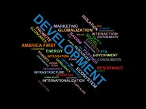 DEVELOPMENT - word cloud wordcloud - terms from the globalization, economy and policy environment. Wordcloud with series of terms from the globalization, economy Royalty Free Stock Photo