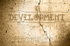 Development. Word development on wall with egyptian alphabet made in 2d software Royalty Free Stock Image