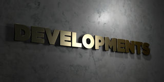 Developments - Gold text on black background - 3D rendered royalty free stock picture Royalty Free Stock Photography