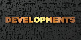 Developments - Gold text on black background - 3D rendered royalty free stock picture Royalty Free Stock Photos