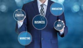 Develops the business. Develops the business concept design Royalty Free Stock Image