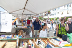 The Deventer book market in the Netherlands on august 3, 2014. The boulevard crowded with people scouring the book stalls. Stock Images