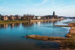 Deventer city view at the river the IJssel stock photo