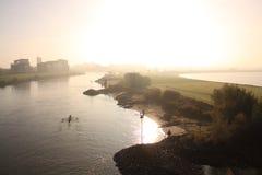 Deventer holandés de la ciudad del ijssel del río Fotografía de archivo