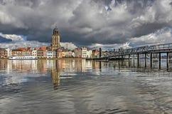 Deventer och den nya pontonbron Fotografering för Bildbyråer