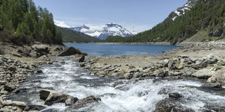 Devero阿尔卑斯,湖Codelago -山麓,意大利 图库摄影
