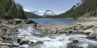 Devero Alp, jeziorny Codelago - Podgórski, Włochy Fotografia Stock