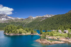 Devero Lake in Alpe Devero natural park in the Lepontine Alps, Verbania Italy Royalty Free Stock Images