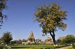 Devi Jagadambi Temple - left and Chitragupta Temple, Western tem. Devi Jagadambi Temple - left and Chitragupta Temple, temples of Khajuraho, Madhya Pradesh Royalty Free Stock Photo