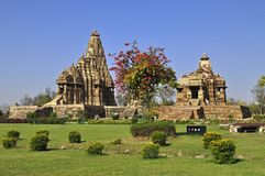 Devi Jagadambi Temple - left and Chitragupta Temple, Western temple of Khajuraho, Madhya Pradesh, India-UNESCO world heritage site Stock Photos